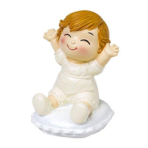 Mopec Figura de Pastel Novios con Bebé Sentado, Poliresina, Marfil, 5x5x8 cm