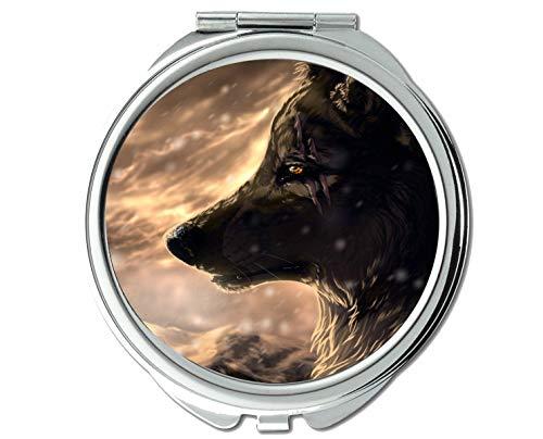 Yanteng Spiegel, Runder Spiegel, Taschenspiegel mit Tierwolfschneeszene, 1 X 2X Vergrößerung