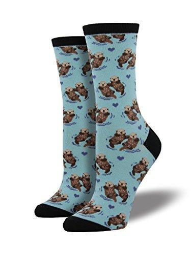 LilyRosa®: Damensocken mit Ottermotiv, Blau, UK-Größe: 3 bis 7; entspricht EU-Größen 36-41)