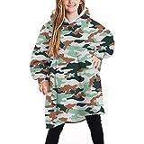 Kids Oversize Blanket Hoodie, Fluffy Sherpa Fleece Giant Hooded Sweatshirt with Pocket, for Children Teens Camouflage