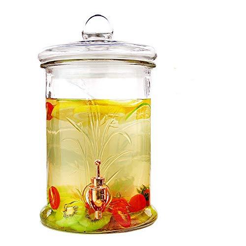 Wastafelarmatuur waterkraan met waterkraan messing loodvrij glas wijnfles enzymfles, wijn arbutus glazen fles, grootte fles: hoogte 33 cm, buitendiameter: 19 cm, orchidee koper kraan