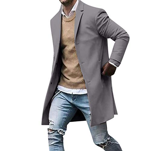 FRAUIT Heren Slim wintermantel wollen mantel knop lang pak mantel overtrekker windbreaker business vrije tijd elegant winter lange pak jas trenchcoat S-3XL