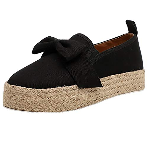 JJHAEVDY Women's Bow Espadrilles Platform Slip On Loafers Casual Round Toe Comfy Moccasin Sneaker Flat Walking Shoes