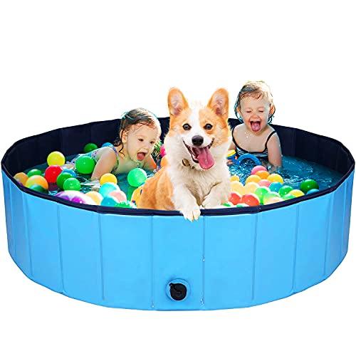 AJKMEI Piscina Perros Grande, Bañeras para Perros, PVC Antideslizante Bañera Plegable para Mascotas, Azul (L:120cmx30cm)