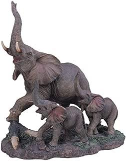 StealStreet SS-G-54138 Polyresin Gray Big Elephant & Two Baby Elephants Figurine, 10