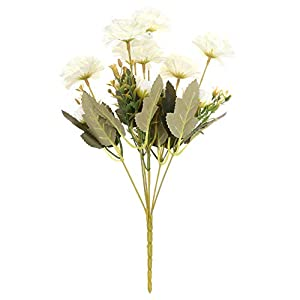7 Forks Beautiful DIY Craft Handmade Blooming Artificial Flowers Silk Rhododendron Fake Rose Peony Bridal Bouquet(Milk White)