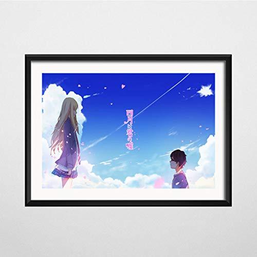NOVELOVE Tu Mentira en Abril Anime Arte Lienzo Pintura Cartel Pared Cuadros Decoración para el hogar sin Marco 30 * 42cm 15