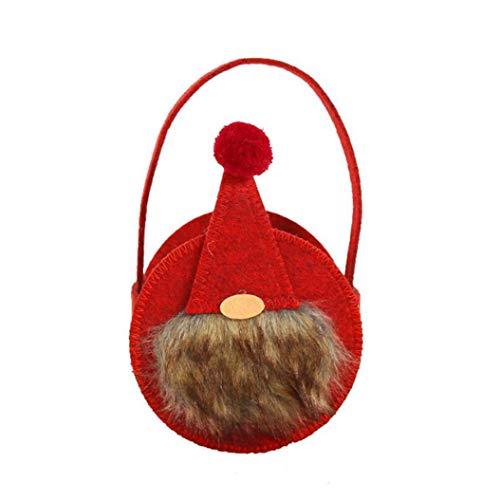 LPOQW Bolsas de dulces de Navidad hechas a mano, bolsas de regalo, bolsa de almacenamiento para Navidad, cumpleaños, fiesta, color rojo