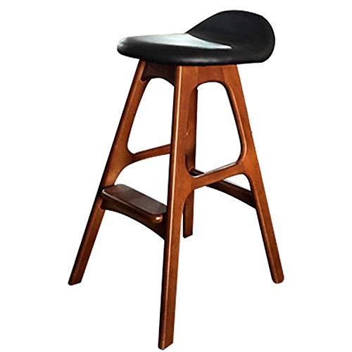 JIAYIBAO Bar Stool Solid Wood Bar Bar Furniture Breakfast Chair Pu Seat Leisure Pedal Bearing Weight 200kg Seat Height 76cm