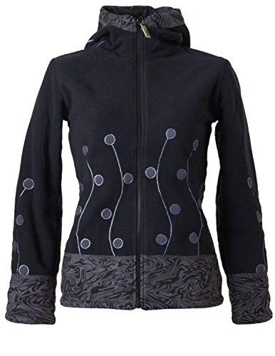 Vishes – Alternative Bekleidung – warme Damen Fleece Jacke mit Stehkragen und Zipfelkapuze Schwarzgrau 34/36