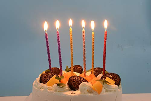 24 Pieces Spiral Cake Candles in Holders Metallic Cupcake Candles Long Thin Wedding Birthday Cake Candles for Party Supplies Decoration, 6 Colors 14cm/5.9in(14)
