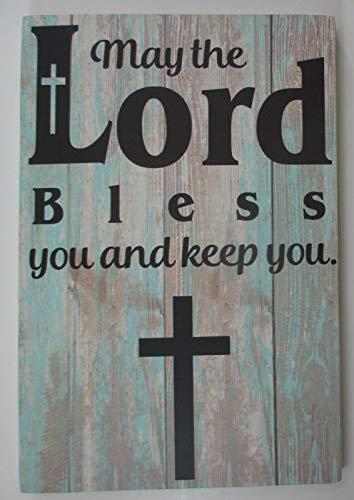 Inga Cartel de metal con texto en inglés 'May The Lord Bless You Keep You' para colgar en el escritorio, con texto en inglés 'May The Lord Bless You Keep You'