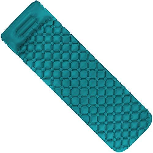 ALPIDEX Isomatte Camping Aufblasbar mit Kissen, Luftsack zum Aufpumpen Ultraleichte rutschfeste Schlafmatte Luftmatratze, Farbe:Turquoise