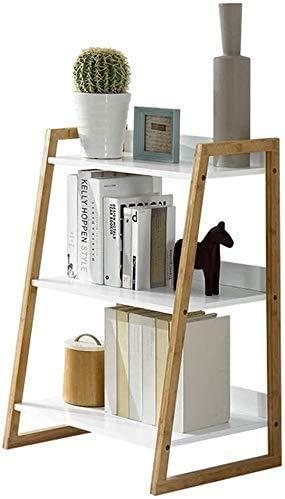Gaohm Estante de Escritorio Estantería en Forma de Escalera Estante de Tres Pisos Sala de Estar Moderna y Simple Acabado de Dormitorio Estante de Almacenamiento Blanco Bolsa de