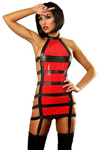 Dessous Scharfes Lack Mini-Kleid schwarz/rot Straps-Kleid Gr S-XL 36-42 Reizwäsche, Größe:S/M