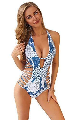 Carprinass Women's Sexy One Piece Monokini Bandage Plunge Swimsuit Swimwear Beige