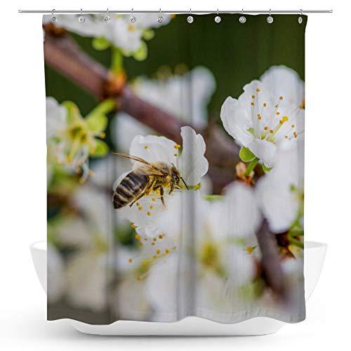 fotobar!style Duschvorhang 175 x 200 cm Biene auf Obstblüten