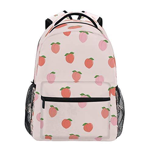 HaJie Backpack Pink Peach Fruit Pattern Travel Daypack Large Capacity Rucksack Casual School Book Bag Shoulder Straps Computer Laptop Bag for Womens Mens Teenage Girls Boys