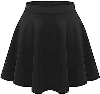 Girls Kids Casual Mini Stretch Waist Flared Plain Pleated...
