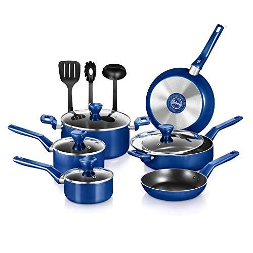 NutriChef 13 Pcs. Nonstick Kitchen Cookware PTFE/PFOA/PFOS-Free Heat Resistant Kitchenware Set w/Saucepan, Frying Pans, Cooking Pots, Casserole, Lids, & Utensils, Blue NCCWA13BU