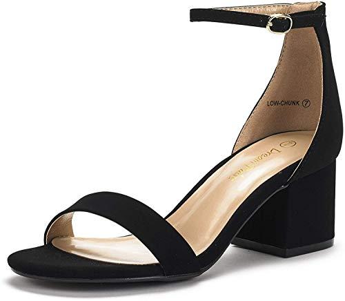 DREAM PAIRS Women's Low-Chunk Black Nubuck Low Heel Pump Sandals - 6 M US