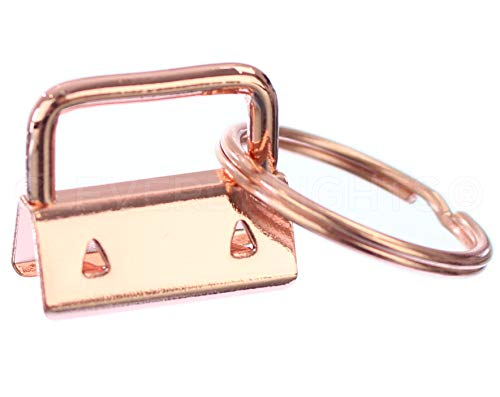 """100 Pack - CleverDelights 1"""" Key Fob Hardware Set with Key Rings - Rose Gold Color - for Lanyards Key Chain Wristlets - 1 Inch"""
