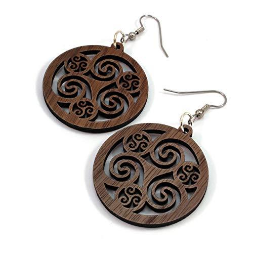 Celtic Hoop Earrings made of Sustainable Walnut Wood - Medium (1.5') - Hook Dangle Drop Earrings