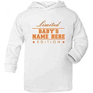 Purple Penguin Clothing Baby Toddler Hoodie - Limited Edition (Personalised with name)- White / Orange Print 2-3 Years:Interoot