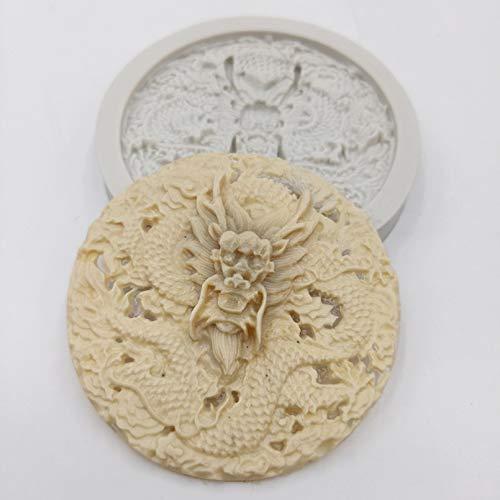 GEYKY minsunbak Molde de Pastel 3D simulación dragón Molde de Silicona DIY Herramientas de decoración de Pasteles de Chocolate