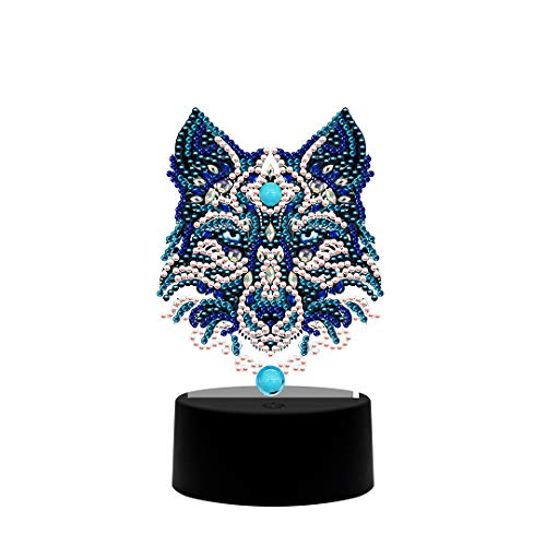DIY Diamond Painting LED Light Lamp Diamond Shaped Drill Special Shaped Night Lamp Table Desk Decoration Wolf Head 9.8x13.8 in 1 Pack by Toyvip