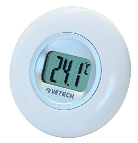 Velamp Round Thermomètre Rond avec écran LCD: Indication de la température Interne. Simple, lisible, élégant, Blanc, 10,2x2,6x20,2 cm