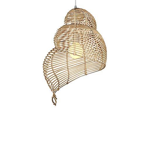 Xungzl Estilo Chino Chandeler Chandelier Sureste Asia Conch Forma Restaurante Decoración Luz Mano Tejido Ratán Colgante Colgante Iluminación Inicio Equipo de iluminación Simple