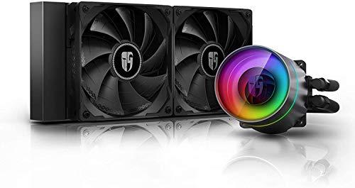 DEEP COOL Castle 240EX, Refrigeración Líquida RGB Direccionable para CPU, con Tecnología Anti-Fugas,Controlador de Cable y/o Control de Placa Base con Add-RGB Header de 5V-3Pin,Garantía de 3 años