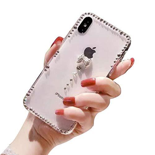 LCHDA Strass Hülle für Samsung Galaxy A71 Bling Glitzer Diamant Glänzende Klar Kristall Steine Weich TPU Silikon Stoßstange Transparent Schlank Hart Plastik Schutzhülle - Kleiner Diamant