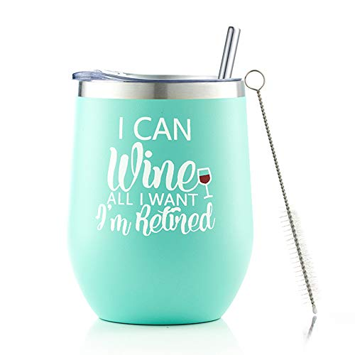 Retirement Gifts for Women,I Can Wine All I Want I'm Retired 12oz Stainless Steel Insulated Tumbler,Funny Gag Retired Goodbye Gifts for Grandma Teacher Coworker Friend Wife Mom Nurse …