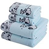 skyfiree Set of 4 Towels Set Cartoon Printed Snoopy 2 Bath Towels 2 Hand Towels Super Soft and Highly Absorbent (Blue)