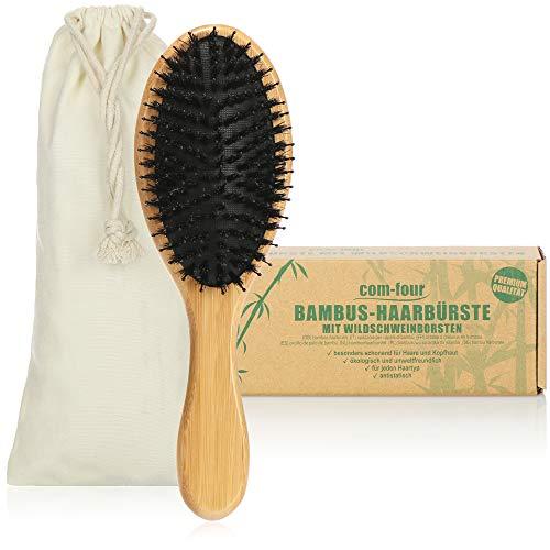 com-four® Premium Bambus-Haarbürste, Allzweck-Haarbürste aus nachhaltigem Bambusholz und Wildschweinborsten, Paddle Brush-Bürste für jeden Haartyp (Haarbürste - Wildschwein)