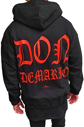 Don Demario Herren Oversize Sweatjacke Kapuzenpullover Pullover Sweater Hoodie 100% Baumwolle (Schwarz - rot, M)