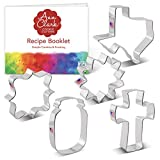 Ann Clark Cookie Cutters Texas Summer 5 Piece Set with Recipe Booklet, Large Texas, Large Mason Jar, Sunflower, Holy Cross, Square Plaque