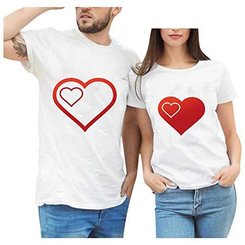 CHMORA Top de las mujeres, mujeres día de San Valentín estampado patrón manga corta cuello redondo suelto camiseta blusa, regalos para mujeres
