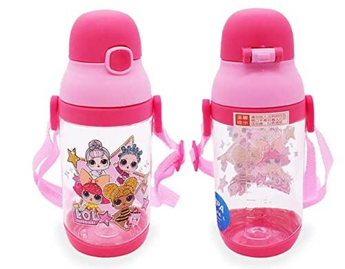 Botella de Agua para Niño, 350ml Botella a Prueba de Fugas, Botella Agua con Pajitas, sin BPA, LOL surprise doll, Senderismo y Actividades al Aire