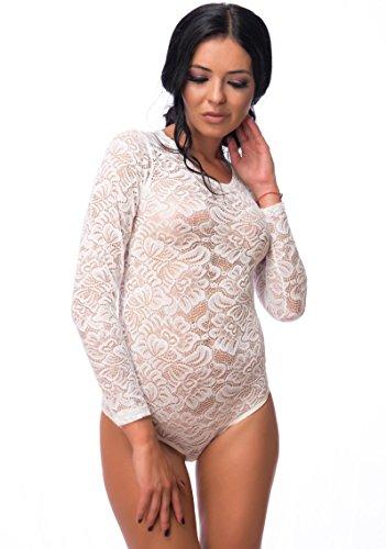 Evoni Damen-Body in Creme S=36   Bodysuit mit Rundhals für Frauen   Langarm-Body aus Spitze Verschluss   reizvolle Damen-Wäsche mit optimaler Passform   Top Overall