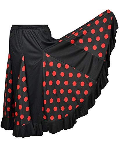 Flamifeel - Falda larga negra con lunares rojos (XXL)