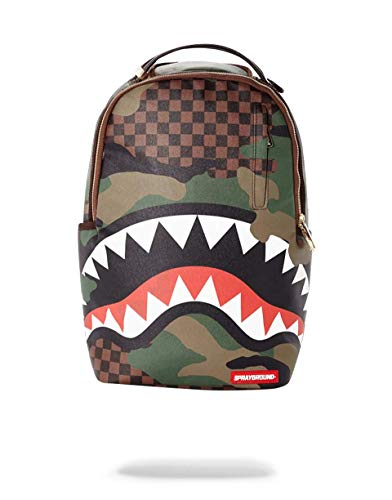 Sprayground Checkered Camo Shark Backpack - Brown/Green-One Size