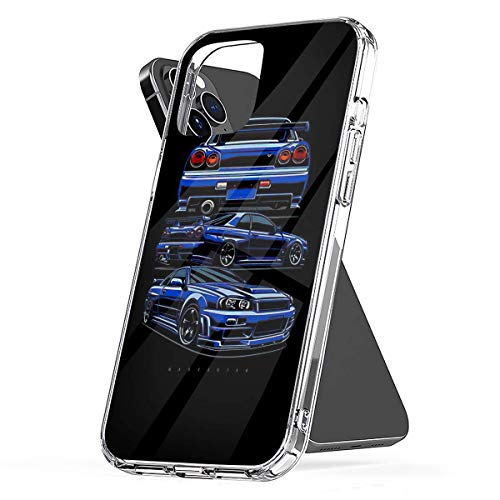 Phone Case Skyline R34 GTR Compatible with iPhone 6 6s 7 8 X XS XR 11 Pro Max SE 2020 Samsung Galaxy Funny Drop Absorption
