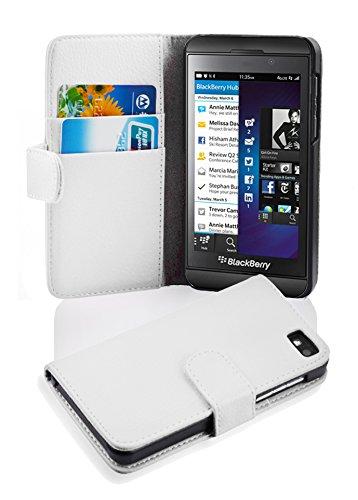 Cadorabo Hülle für BlackBerry Z10 in Magnesium WEIß – Handyhülle aus Strukturiertem Kunstleder mit Standfunktion & Kartenfach – Hülle Cover Schutzhülle Etui Tasche Book Klapp Style
