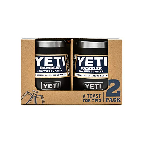 YETI Rambler 10 oz Wine Tumbler, Vacuum Insulated, Stainless Steel, 2 Pack, Black