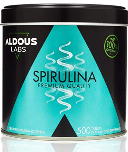 Espirulina Ecológica Premium para 9 Meses | 500 comprimidos de 500mg con 99% BIO Spirulina | Vegano - Saciante - DETOX - Proteína Vegetal | Libre de Plástico | Certificación Ecológica Oficial