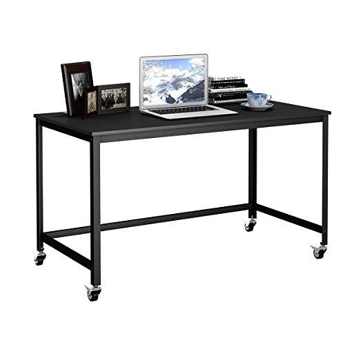 COSTWAY Schreibtisch rollbar, Computertisch mit stabilem Metallrahmen, Arbeitstisch mit 4 Rädern, Bürotisch, PC-Tisch, Büromöbel fürs Wohnzimmer, Arbeitszimmer, Büro, schwarz