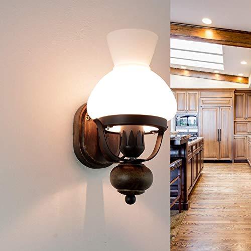 Urige Wandleuchte Landhausstil Holz Glas Öllampen Design Rustikal E14 Wandlampe Beleuchtung